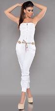 Women's Italy Designer Strapless Jumpsuit Overall + Belt - S/M/L/XL