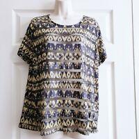 Black & Yellow Size 16 T-Shirt Aztec Pattern Semi Sheer Plus Size Top Striped