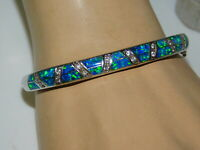 Sterling Silver Blue Green Opal Inlay CZ Hinged Bangle Bracelet 2c 103