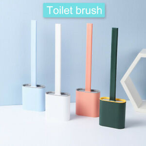 Toilet Brush and Holder Set Silicone Bristles Toliet Cleaning Brush Long Handle