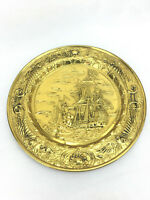 Large Vintage Ship Embossed Brass Wall Plaque Hanging Made In England PL2