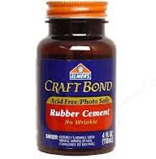 Elmers E425 Craft Bond Acid-Free No-Wrinkle Rubber Cement 4 Ounce w/ Brush Glue