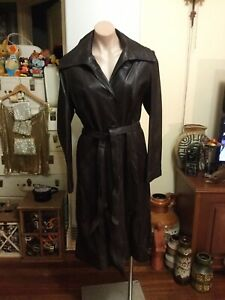 Vintage Buttery Soft Chocolate Brown Leather Trench Coat Lined Size 10-12