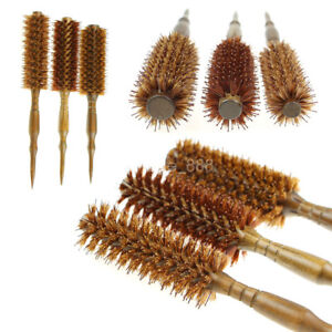 Round Wooden Handle Hairdressing Boar Bristle Curling Hair Comb Brush Tool