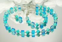 3er Schmuckset Kette Armband Ohrringe Würfel Glas crash türkis blau silber 301j
