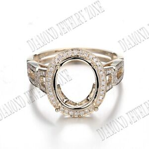 Fine Jewelry Silver Oval 11x9mm Pave Real SI/H Diamond Semi Mount Ring Setting