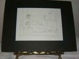Picasso, Art Drawings, Reprints, Lot of 5, Matted on Black Board