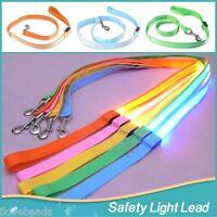 LED Pet Dog Leash Lead Flashing Safety Light Up Nylon Tag Luminous Adjustable
