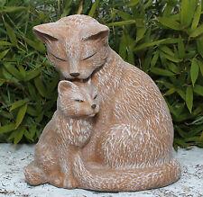Stone Figure Cat Couple Puss Garden Ornament Animal Sculpture