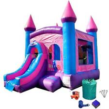 Inflatable Bounce House Combo Pink Blue Wet Dry Slide With Blower 100% Vinyl