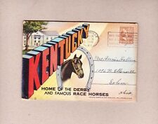 18 Postcard Views Souvenir Folder Kentucky Home of The Derby Race Horses 1946