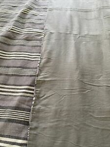 queen size duvet cover textured linen striped purple taupe gray white Revers