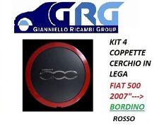 SET 4 COPPETTE FIAT 500 2007 BORCHIA CERCHI IN LEGA BORDO ROSSO COPRIMOZZO  4PZ