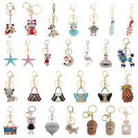 Crystal Rhinestone Keyring Charm Pendant Purse Bags Car Key Ring Chain Keychain