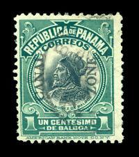 CANAL ZONE (US) 1915  BALBOA  1c green - Type III overprint -  Sc# 46 used  FVF
