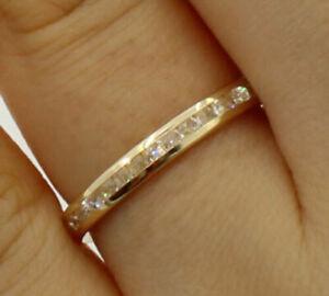 Moissanite Eternity Anniversary & Wedding Ring Band 14K Yellow Gold Round