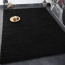 Hochflor Shaggy Teppich Modern Wohnzimmer Lounge Unifarbe Schwarz - TOP PREIS