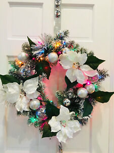 24in Multicolor Lighted Snowy Christmas Wreath White poinsettia Silver Ornaments