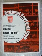1969-70 Arsenal v Coventry City, 4th Oct with Voucher