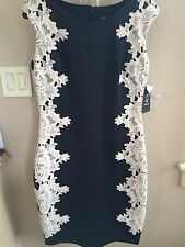NWT JAX Lined Evening Cocktail Black and Cream Side Panel Floral Lace Dress - 14
