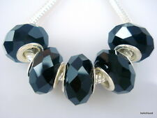 50pcs black Faceted Crystal Glass Beads Fit European Bracelet Z06