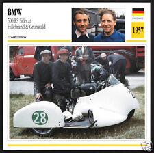 1957 BMW 500cc RS Sidecar Hillebrand & Grunwald Race Motorcycle Photo Spec Card