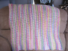 GIRS MULTICOLOR BRIGHT CROCHET BABY BLANKET PINKS YELLOWS PURPLE