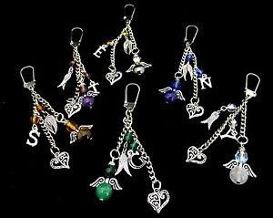 Guardian Angel Keychain Keyring Bag charm  Perfect Gift Gemstone Personalised