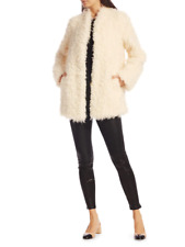 NEW NWT Frame Clothing Faux Mongolian Fur Coat Off White Sz XS RV $625