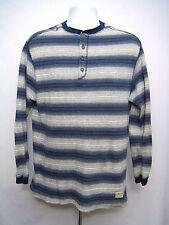 LEVIS Mens Size M Henley White Blue Stripe Long Sleeve Shirt Cotton Levi's