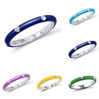 10 Silver Wedding Zircon 925 Colors Rainbow Women Cubic Rings Size 6-10