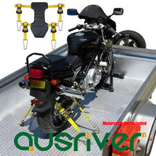 Premium Motorcycle Motorbike Transport Tie Down Ratchet Strap System Tyre Fix