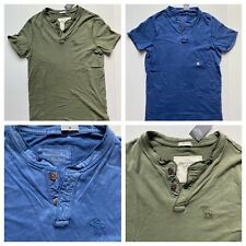 New Abercrombie & Fitch 100% Cotton Henley T-Shirts, Olive Green and Blue