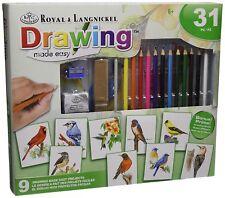 Garden Wild Birds To Colour Set.  Artist Pencils Sketching & Drawing Kit AME101