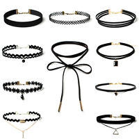 10Pcs Women Classic Black Velvet Lace Stretch Gothic Tattoo Choker Necklace Set