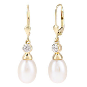 Jewelco London 9ct White Gold Cultured Pearl and Diamond Drop Earrings