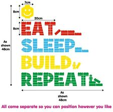 LEGO Eat Sleep Build Repeat Vinyl Decal Wall Quote