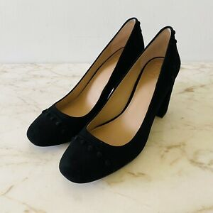 TORY BURCH Solid Black Soho Luxe Suede Block Heel Pumps - US 10