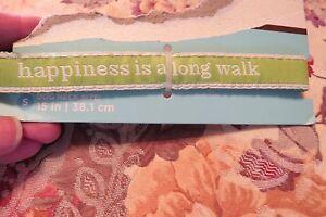"NEW, ADORABLE MARTHA STEWART PETS GREEN ""HAPPINESS""  DOGGIE FASHION COLLAR SZ S"
