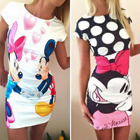 Women Minnie Bodycon Mini Dress Party Short Sleeve Stretch Slim Sundress Summer