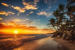 Sunrise Over Tropical Beach Palm Tree Ocean Photo Art Print Poster 24x36 inch