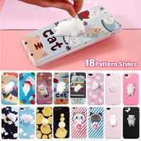 3D Squishy Phone Case Soft Cute Silicone Cover Back Cartoon TPU iPhone X S9 S8
