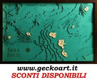 Isole Eolie Sicilia Mappa Cartina 3D Quadro Moderno Map Chart www.geckoart.it