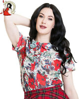 HELL BUNNY JENNIE top BLOUSE XMAS red FLORAL holly 50s CHRISTMAS xmas  XS-4XL
