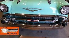 1957 Chevy Hood Bar + Extensions Set Chrome USA Made 14792 Belair Sedan Hardtop
