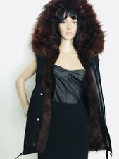 New Genuine Fox Fur Hood Real Shearling Lining Black Vest S Mr Mrs Italy Style