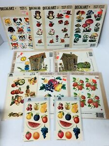 Vtg Meyercord Decals Lot of 11 Sheets: Fruits, Baby Animals, Mushrooms 1970s