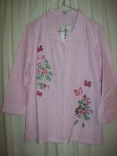 DAMART Size 16 pink stripe blouse - embroidered shirt / top - New with tags