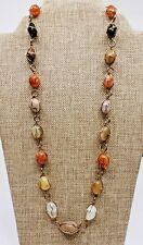- Earth Tone Colors A34) Pretty Gemstone Wire-Wrapped Necklace