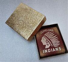 VINTAGE -  1940s Cleveland Indians - Red Metal Cigarette Case - Original Box